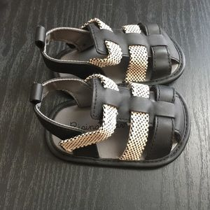 Rising Star Baby Boy Black and Gray Sandals